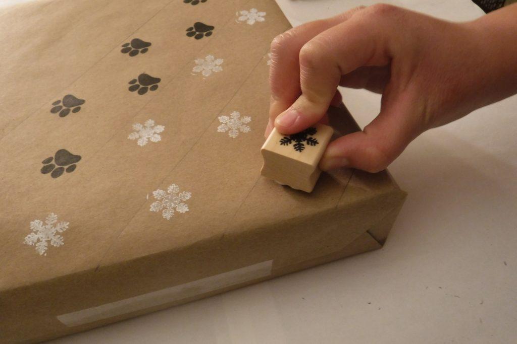Stamped snowflakes on package
