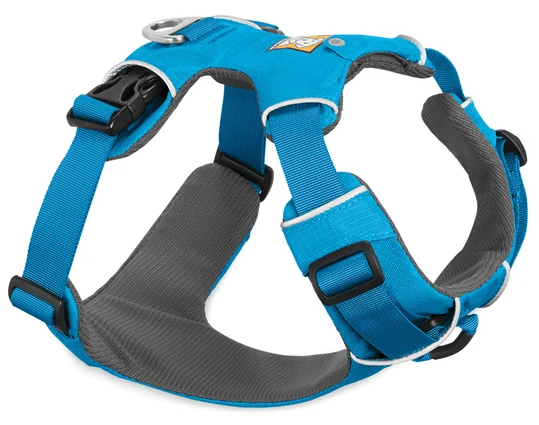 Blue padded dog harness. Part of The best dog harness for doodles.