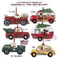 Dog in car ornaments by sagefinds