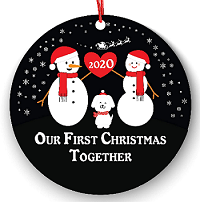 Personalized Dog Ornaments Snow couple first Christmas ornament